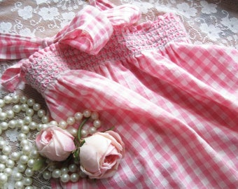Gingham Half Apron with Cross Stitch, Pink Gingham Embroidered Apron, Hostess Apron, Cottage Charm, by mailordervintage on etsy