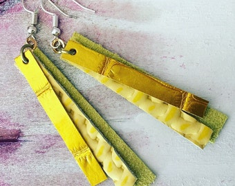 Yellow & Chartreuse Leather Dangle Earrings