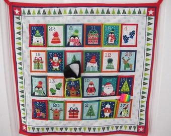 Animal colourful Christmas advent calendar, kids advent, fabric advent calendar, holidays, penguins, Christmas gift, home wall decor