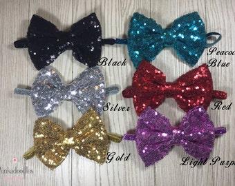 "Sequin Bow Headband- Sparkle Bow- 5"" Large Bow- Gold Bow"