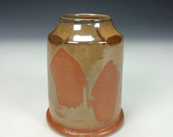 Shino Orange Tan Grey and Black Ceramic Vase, Modern Home Decor, Unique Rustic Vessel, Cylinder Clay Vase, Flower Vase