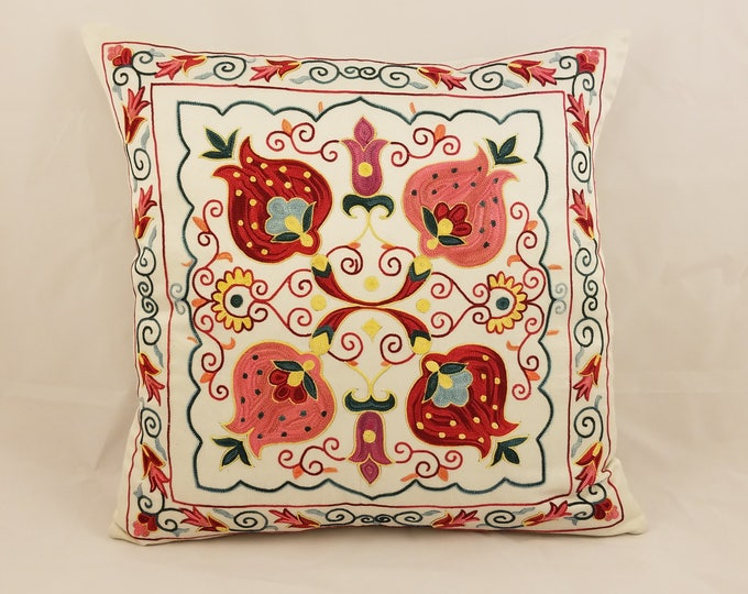 Hand Embroidered Suzani Pillow Cover SP44 (msp796), Suzani Pillow, Suzani Throw, Boho Pillow, Suzani, Decorative pillows, Accent pillows