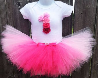 Pink Ombre Tutu Outfit with Matching Headband   First Birthday Outfit    1st Birthday, 2nd Birthday, 3rd Birthday