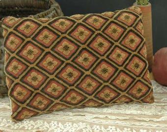 Cut Velvet Coverlet Pillow Tan Antique Brocade Primitive