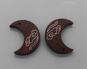 1 PC of Wood Inlay Silver Crescent Moon Charm Pendant,Moon Pendant, Half Moon Pendant,Natural sandalwood moon pendant, wood pendant