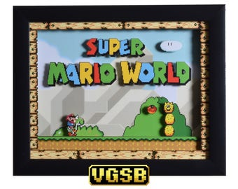 Super Mario World Shadow Box - Title Screen - SNES - Super Nintendo - 3D Shadow Box Glass Frame - 12x10 - Christmas Gift - Game Room Decor