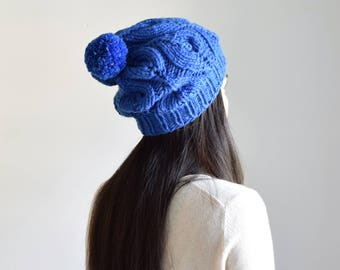 Pom Pom Knit Hat, Women's Knit Hat, Chunky Merino Wool Hat