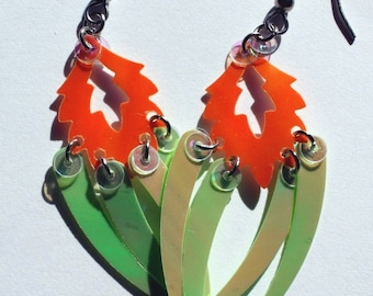 Unique Sequin Earrings Green & Orange Iridescent Flaming Feather Dangles Plastic Sequins