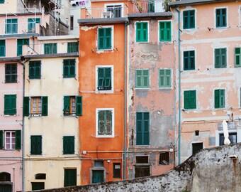 "Cinque Terre Art, Italy Photography, Italy Wall Art, Italy Gift, Riomaggiore, Italian Wall Decor, Home Decor,Travel Photography ""Crayon Box"""