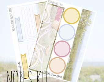 Beach Bike June Notes Page Kit / Fits Erin Condren Vertical Life Planner