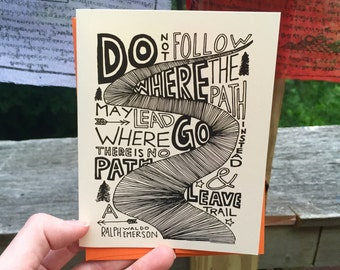 Hand Lettered Leave a Trail Card, Emerson Quote Card, Encouragement Card, Motivational Card, Nature Card