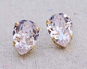 Swarovski Rose Quartz Pink Crystal Teardrop Rhinestone Pear Rose Gold Post Earrings Wedding Bridal Jewelry Bridesmaids Presents Gift for Her