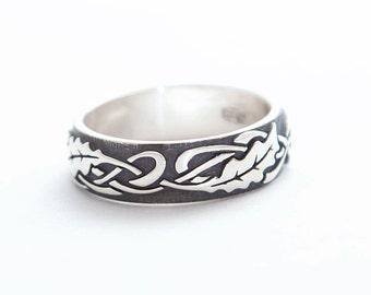 Oak ring | Silver Oak ring | Ornamental ring |  Engagement ring | Wedding ring