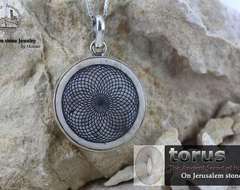Sacred Torus Flower on Jerusalem stone silver necklace pendant - free shipping