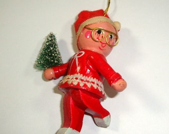 Vintage Wood Christmas Ornament, Girl Dressed in Red, Santa Hat, Gold Eye Glasses, Bottle Brush Tree, Holiday Decor, Decoration  (926-15)