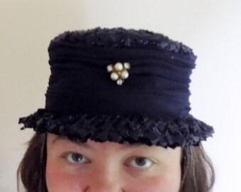50s Pork Pie Hat, Navy Blue, 1950s, Mid Century,  Straw Hat, Vintage Hat, Ladies Hat, Womens Hat, Womens Vintage Accessories