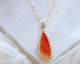 Teardrop Rhinestone, Turquoise, Long Necklace