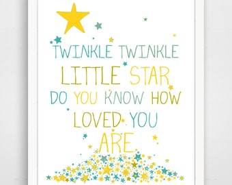Twinkle Twinkle Little Star Do You Know How Loved You Are, Nursery Decor, Baby Wall Art, Yellow Gender Neutral Wall Art