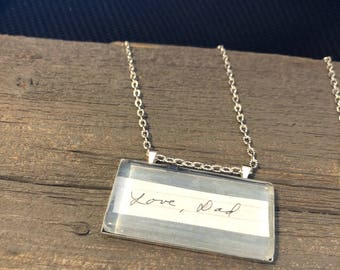 Handwriting glass tile necklace