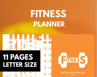 Fitness Planner Printable Letter, Workout Planner, Fitness Journal Printable, Health Planner, Exercise Planner, Weekly Daily Workout