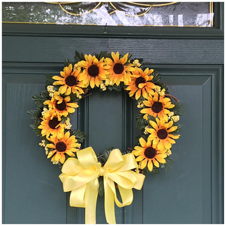 Attirant Sunflower Door Wreath. Floral Wreath. Sunflower Decor. Front Door Wreath.  Sunflower Gifts. Sunflowers. Sunflower Wall Decor. Sunflowers