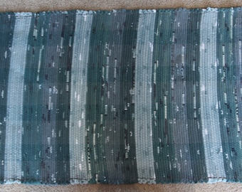 Handwoven Rag Rug - Spruce Green with black, white and light green - 47 inches....(#125)