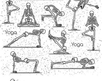 Skeleton Yoga - Ceramic Decals- Enamel Decal - Fusible Decal - Glass Fusing Decal ~ Waterslide Decal - 34221
