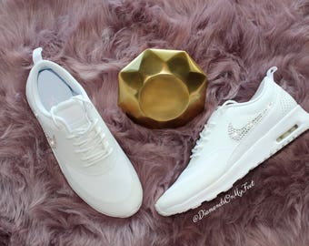 Swarovski Women's Nike Air Max All White Thea Sneakers Blinged Out With  Authentic Clear Swarovski Crystals