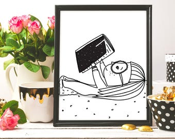 Reading Book, Book Lover, Reading Is Cool, Girl Reading Book, Illustration, Reading print, Book Poster, printable art, Pretty Print, Artwork