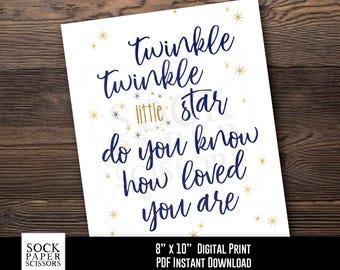 Printable Print Nursery Wall Art, Twinkle Twinkle Little Star Do You Know How Loved You Are, Nursery Decor, PDF Digital Download, Sku-RNA108