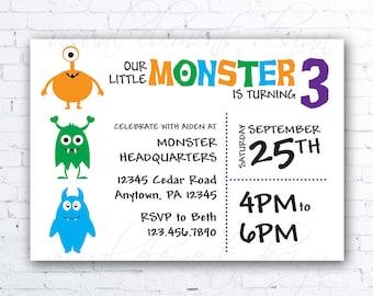 Little Monster Birthday Invitation, Printable Invitation, Personalized