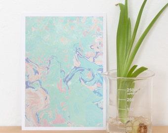 print of handmade paper marbling / marbling postcard / greeting card