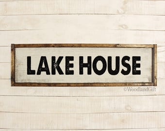 Lakehouse Signs | Lakehouse Decor | Lakehouse Wood Sign | Lake | Framed Wood Lakehouse Sign | Rustic Vintage Farmhouse Inspired Lakehouse