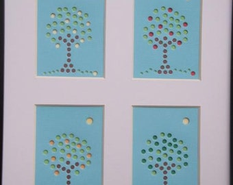 """Orange, Lime, and Lemon Trees - """"Framed and Matted Fruit Tree Collection"""" - Premium Hand-hammered Topography ACEO DDOTS"""
