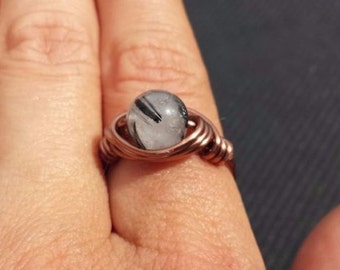 WIRE WRAPPED RING Tourmalated Quartz in Antiqued Copper Handmade
