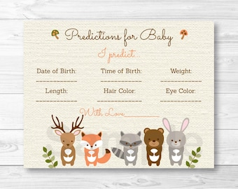 Woodland Forest Animal Predictions For Baby Game / Woodland Baby Shower / Baby Birth Stats Game / Printable INSTANT DOWNLOAD A187