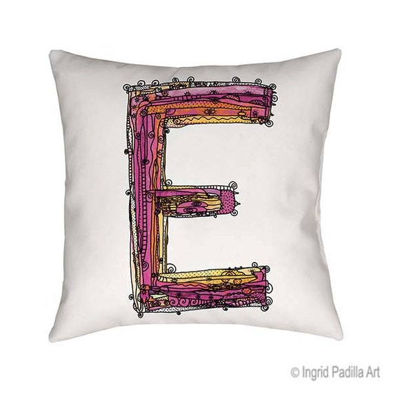 Whimsical, Letter, E, Pillow, Decorative, monogram pillow, Illustration, funky, typography, Alphabet, Art, Printed fabric, Ingrid Padilla