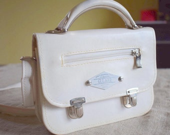 Vintage white messenger crossbody bag for women GULAGGI made in Italy vegan leather purse shoulder italian bag small briefcase pouch