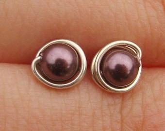 Tiny Burgundy Pearl Stud Earrings (5mm), Swarovski Pearl Stud Earrings, Wire Wrapped Sterling Silver Stud Earrings, Burgundy Stud Earrings