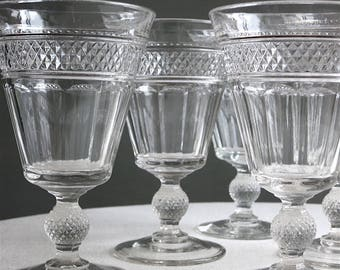 Set of Six Antique Pressed Glass Wine Goblets -- EAPG Circa 1900 Diamond Point Pattern Stemware Water Glasses - Vintage Barware Entertaining