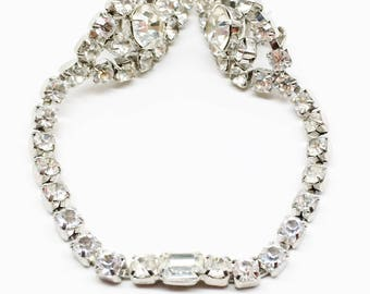 Vintage Sweater Clip Large Rhinestone 1950s Bright Sparkle Pronged Something Old Bride Rockabilly Retro Runway Statement Glamour Jewelry