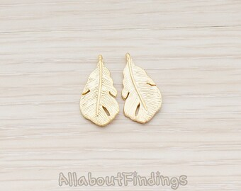 PDT405-01-MG // Matte Gold Plated Fatty Small Feather Pendant, 2 Pc