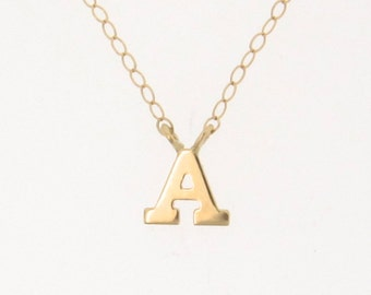 Tiny Initial Necklace, YOUR Letter, Personalized Necklace - 14K Gold Ultra Feminine Initial Necklace