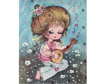 Vintage Hippie fille avec ukulélé jolie Illustration pour téléchargement immédiat