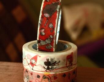 3 Rolls of Shinzi Katoh Design Japanese Washi Masking Tape Roll- Alice and Red Riding hood