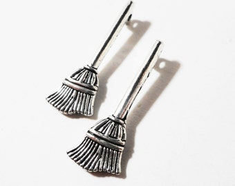 Silver Broom Charms 27x10mm Antique Silver Metal Sweeper Witch Cleaning Halloween Charm Pendant Jewelry Making Findings Craft Supplies 10pc