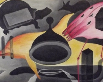Animals' Flare by Mbeng Pouka - Original Contemporary Oil Painting, Surrealism / Abstract Style - 45 x 94 cm