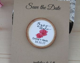 rustic save the date birch tree magnets - Rustic Wedding Favor Wood Magnets basic - Custom Save the date Tree    with card and envelopes