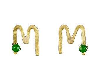 Initial M earrings for mom, mothers day gift, gold personalized stud, silver stud, alphabet letter jewel, handmade monogram, green jade post