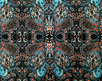 Big Geo Damask Pattern on Stretch ITY Knit Jersey Polyester Spandex Fabric - 58 to 60 Inches Wide - By the Yard or Bulk